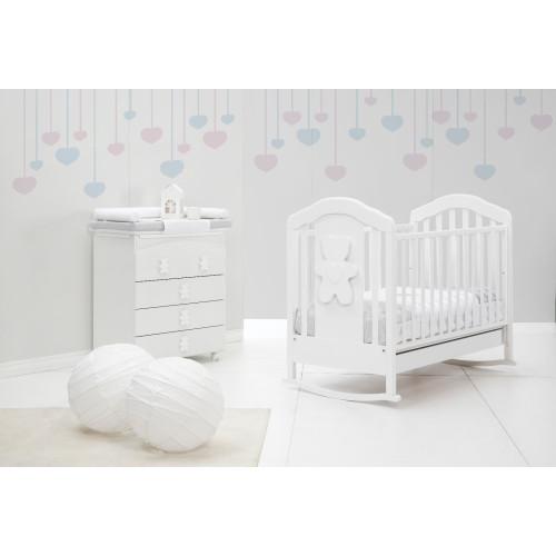 Raffaello bērnu gultiņa šūpulis Coccolo soft white