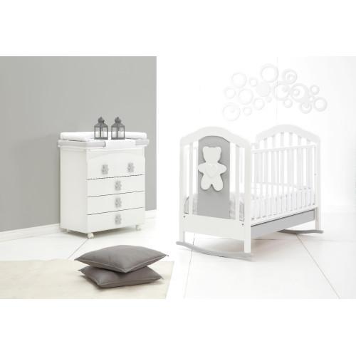 Raffaello bērnu gultiņa šūpulis Coccolo soft bicolor (grey)