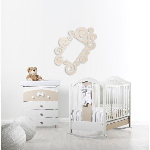 Raffaello bērnu gultiņa ar šūpuli Fiocco bicolor (beige)