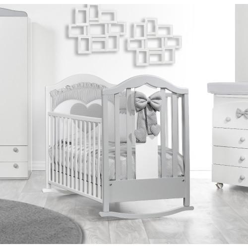 Raffaello bērnu gultiņa ar šūpuli Fiocco bicolor (grey)