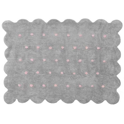 Aratextil Cookie gris/rosa mazgājamais paklājs no 100% kokvilnas