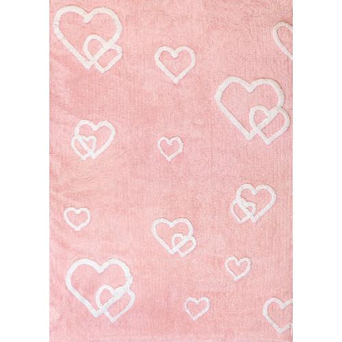 Aratextil Corazones rosa mazgājamais paklājs no 100% kokvilnas