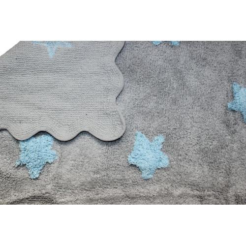 Aratextil Eden gris/celeste mazgājamais paklājs no 100% kokvilnas