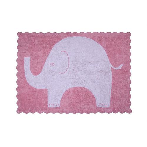 Aratextil Elefantino rosa mazgājamais paklājs no 100% kokvilnas