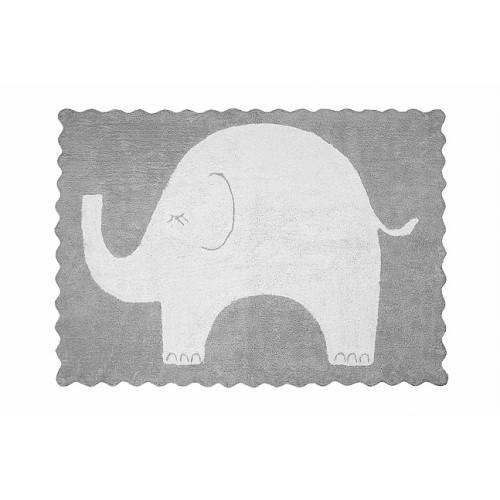 AratextilElefantino gris mazgājamais paklājs no 100% kokvilnas