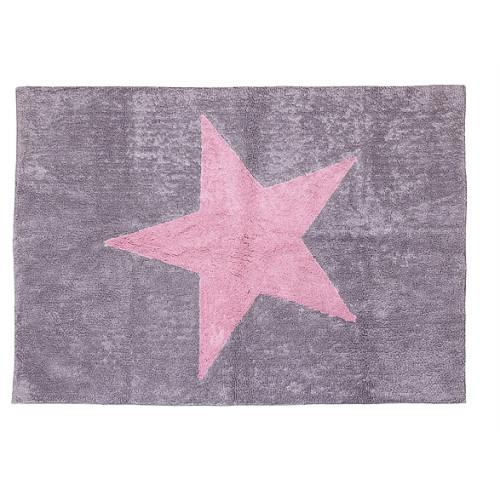 Aratextil Estela gris/rosa mazgājamais paklājs no 100% kokvilnas